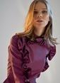 morhipoxsudi etuz Metalik Kumaşlı Fırfır Detaylı Elbise Fuşya